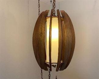 Mid-Mod teak hanging lamp