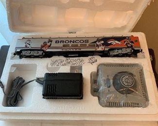 Bachmann Hawtorne Village Denver Broncos model train (numerous pieces)