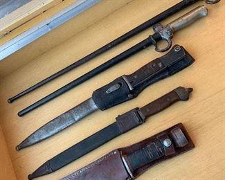 Military bayonets and knives.