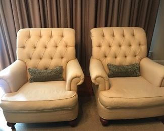 Pair of tufted Ethan Allen arm chairs