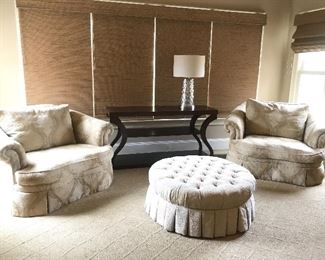Pair of oversized chairs and tufted ottoman by Ethan Allen