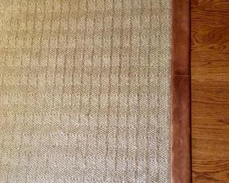 8' by 10' leather trim sisal rug