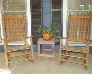 Outdoor rockers, teak side table