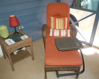 Hampton  Bay Chaise Lounge with portable tray