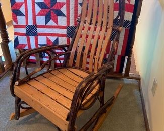 Vintage Amish made Adirondack rocking chair