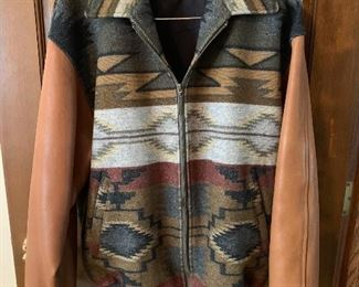 Vintage ladies Pendleton wool and leather varsity style jacket, size Large