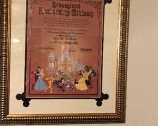 He worked as a Security Guard at Disneyland and this certifies his Disneyland Honorary Citizen status.