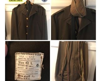 Authentic World War II Uniform in excellent condition. This is a set that includes one coat, 3 belts (2 leather, one is a super-durable fabric) 1 tie, 1 hat and 2 pants.