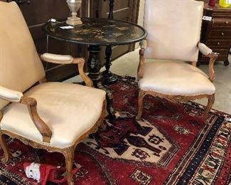 Antique oriental rug for sale along with lamps