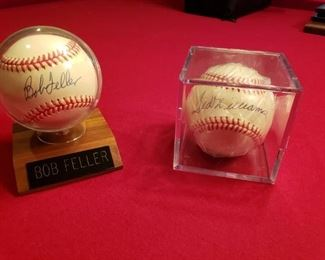SIGNED BALLS, TED WILLIAMS, BOB FELLER ALSO WHITEY FORD