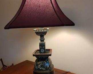 LOVELY ANTIQUE CLOISONNE LAMP