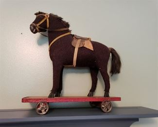 ANTIQUE PULL TOY HORSE