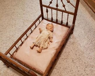 ANTIQUE DOLL, BED