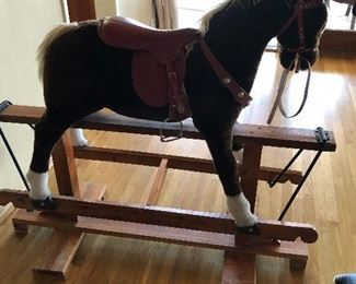 wonderful large antique rocking horse purchased in London