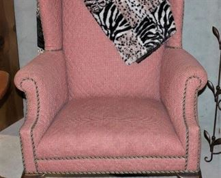 Studded checkered Queen Anne chair!