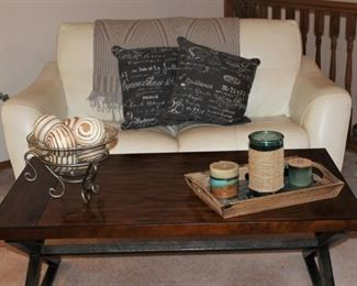 White Leather Love Seat and Solid Wood Coffee Table