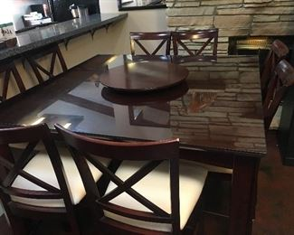 """Tall"" Dining Set w/Lazy Susan and 8 Chairs--Like New"