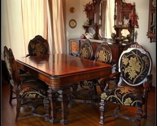 Stunning Dining Room Set with Six Chairs and Matching Sideboard Fit for the Royal Family
