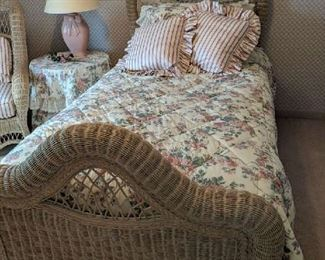 $60   Wicker twin bedframe (2)