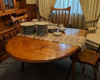$160   Maple table with extra leaf and chairs