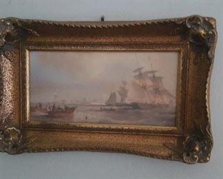 Nicely framed art - subject sailing ships