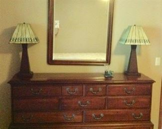 Drexel Heritage Dresser & Mirror ,& 2 Matching Stained Glass Lamps