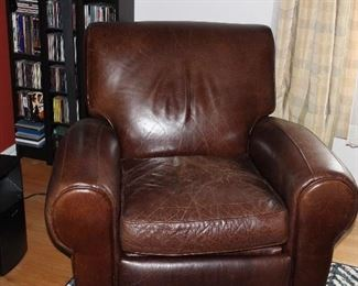 POTTERY BARN  ALL LEATHER RECLINER