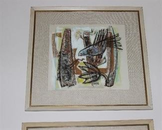 SIGNED EDNA REINDEL PAIR OF MIXED MEDIA PAINTINGS