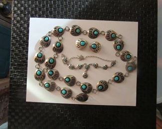 Navajo Turquoise Shadow  Box Bear Claw sterling silver Concho belt with matching necklace and set of post earrings.