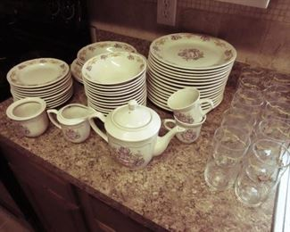 Here's a beautiful set of Gibson china that the owners received as a wedding gift, 26 years ago!  Note also the sets of matching tumblers alongside.