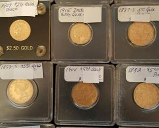 Sample of American gold coins