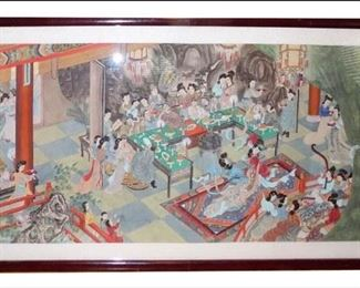 Amazing Early 1900s Handpainted Chinese Parlor Scene on Silk.  8-feet by 4-feet.