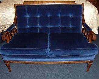 VINTAGE SAPPHIRE BLUE SETTEE