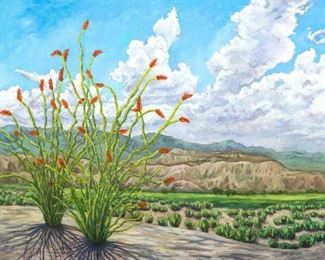 "Ocotillo Twostep and the Frontier Sky, oil on panel, 36"" x 48"""
