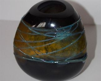 Artist made glass vase