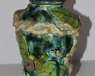 Hand built ceramic frog and bee pot, from Mexico