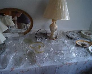 Crystal serving dishes and collectors plates