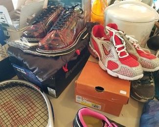 NEW NIKI in box tennis shoes and several slightly warn  size 10,  Brunswick gulf shoes NEW in box with extra heels and laces etc. LOTS of sport items.