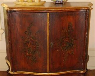 Venetian hand painted chest with inset pinned hinges.
