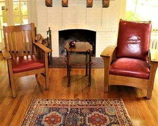 Come in and shop awhile!  A beautiful setting:  includes antique Oriental rug, antique Mission Oak chair, custom made table, and a wonderful mix of vintage pottery.  PLEASE NOTE;  THE MORRIS CHAIR IS NO LONGER AVAILABLE.  A close family member (of my client)  has been allowed to pull the chair.