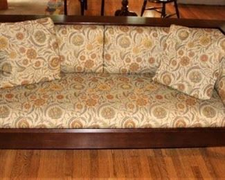 Stickley Mission Oak sofa with William Morris print upholstered cushions.