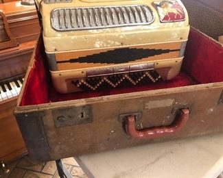 Accordion in its suitcase