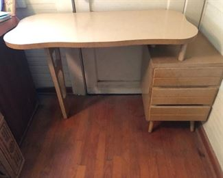 Vintage MCM two tier desk with laminate surface