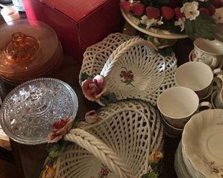 Capodimonte porcelain woven baskets