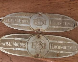 General Motors Locomotives Electro-Motive Division.  Date May 1950.  Class 0-4-4-0.  Serial 10218.  Matched pair of builders plates.