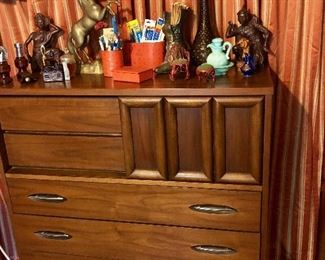 HOOKER Mid Century Modern tall chest of drawers with Sliding Door feature.  SUPER RARE Piece to this suit