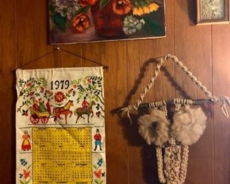 Crocheted owl, 1979 calendar, floral painting