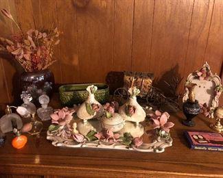 Capodimonte dresser set, perfume bottles