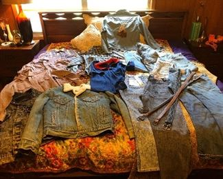 Collection of Levi's shirts, jackets, jeans and belts.
