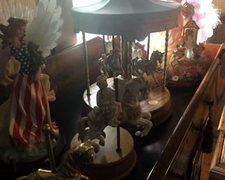 Lighted angels, carousel horses